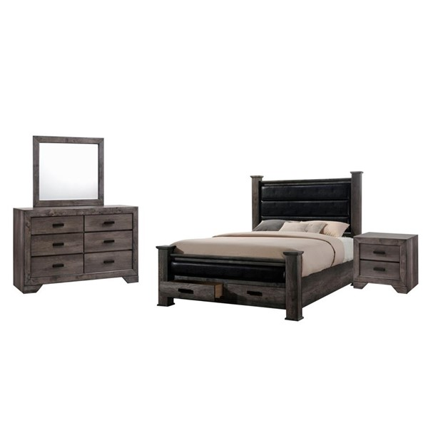 Picket House Grayson Grey Oak 4pc Bedroom Set with Storage King Poster Bed PKT-NH150KB4PC