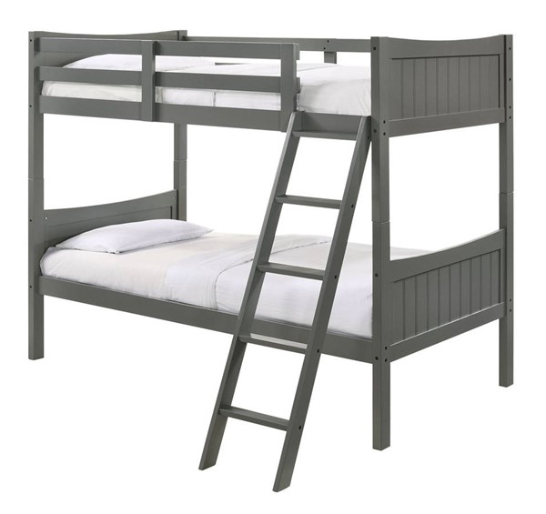 Picket House Santino Grey Twin Over Twin Bunk Bed PKT-SM300TTB