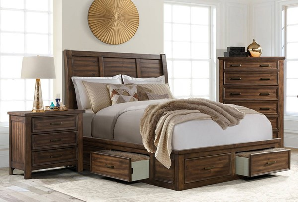 Picket House Damen Chestnut 2pc Bedroom Set with 6 Drawer Storage King Platform Bed PKT-SV500-BR-S2
