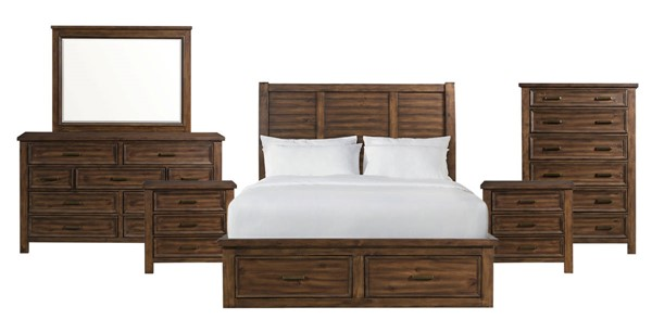 Picket House Damen Chestnut 6pc Bedroom Set with 6 Drawer Storage Queen Platform Bed PKT-SV500QB6PC