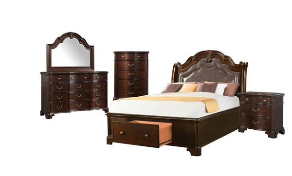 Picket House Tomlyn Dark Cherry 5pc Bedroom Set with Storage Queen Bed PKT-TB6005QB
