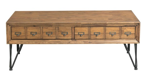 Picket House Tanner Light Walnut Wood 2 Drawers Coffee Table PKT-TBN100CTE