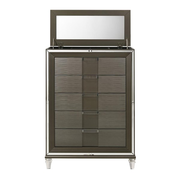 Picket House Charlotte Copper Wood 5 Drawers Flip Top Chest PKT-TN600CH