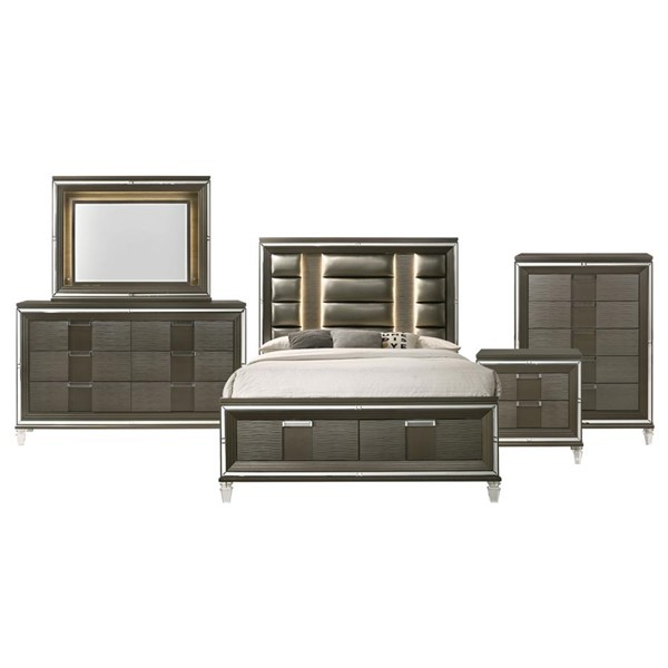 Picket House Charlotte Copper Wood 5pc Bedroom Set with King Drawer Bed PKT-TN600KB5PC