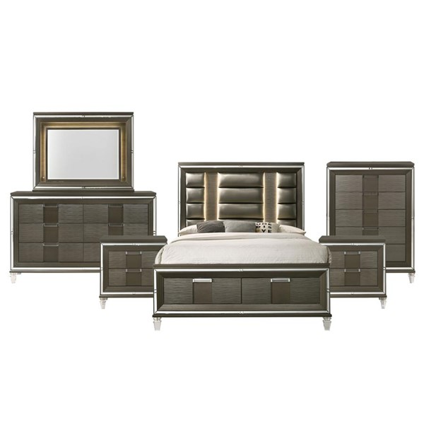 Picket House Charlotte Copper Wood 6pc Bedroom Set with King Drawer Bed PKT-TN600KB6PC