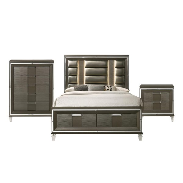Picket House Charlotte Copper 3pc Bedroom Set with 2 Drawers Storage Queen Bed PKT-TN600QB3PC