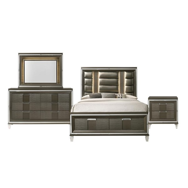 Picket House Charlotte Copper 4pc Bedroom Set with 2 Drawers Storage Queen Bed PKT-TN600QB4PC