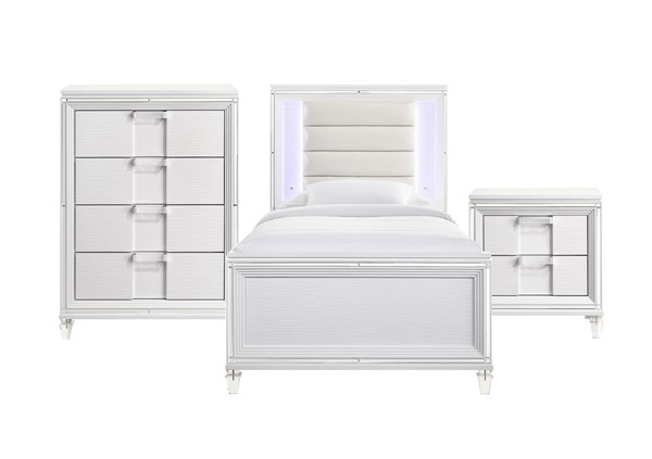 Picket House Charlotte Youth White 3pc Kids Bedroom Set with Twin Bed PKT-TN777T3PC