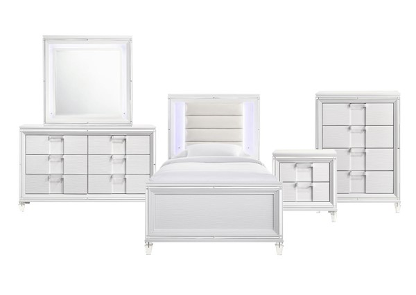 Picket House Charlotte Youth White 5pc Kids Bedroom Set with Twin Bed PKT-TN777T5PC