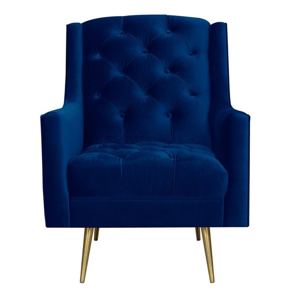 Picket House Reese Navy Blue Fabric Button Tufted Accent Chair PKT-UBY286100GLG