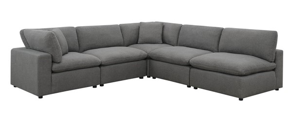 Picket House Haven Charcoal Linen Fabric 5pc Sectional Sofa PKT-UCL30575PC