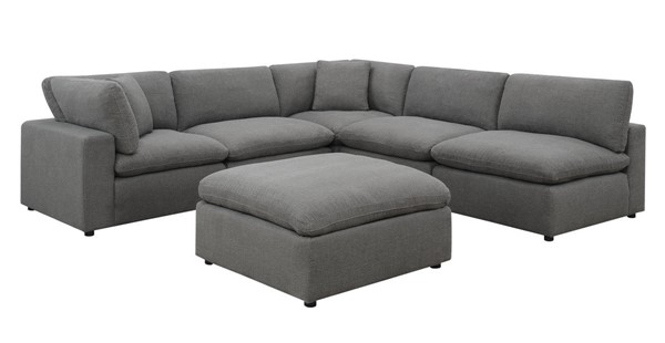 Picket House Haven Charcoal Linen Fabric 6pc Sectional Sofa PKT-UCL30576PC