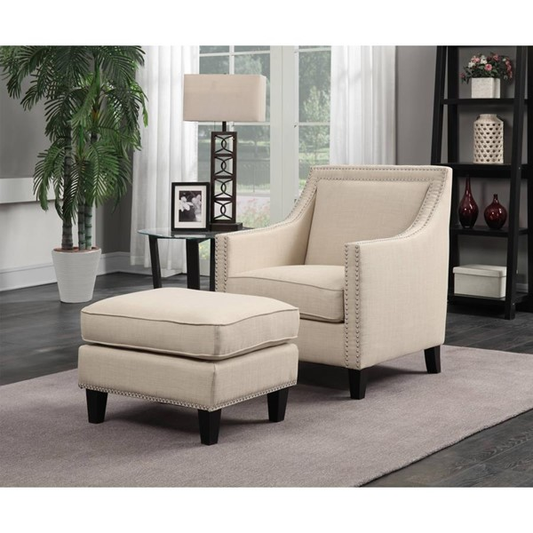 Picket House Emery Natural Fabric Chair and Ottoman Set PKT-UER0822PC