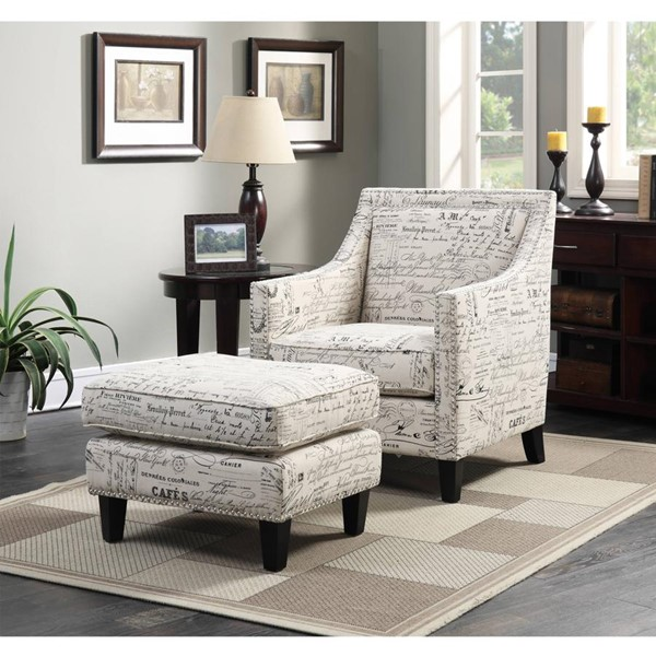 Picket House Emery French Script Nailhead Chair and Ottoman PKT-UER6362PC