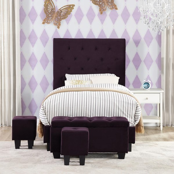 Picket House Faye Eggplant Twin Upholstered Bed with Ottoman Set PKT-UFH047TBG
