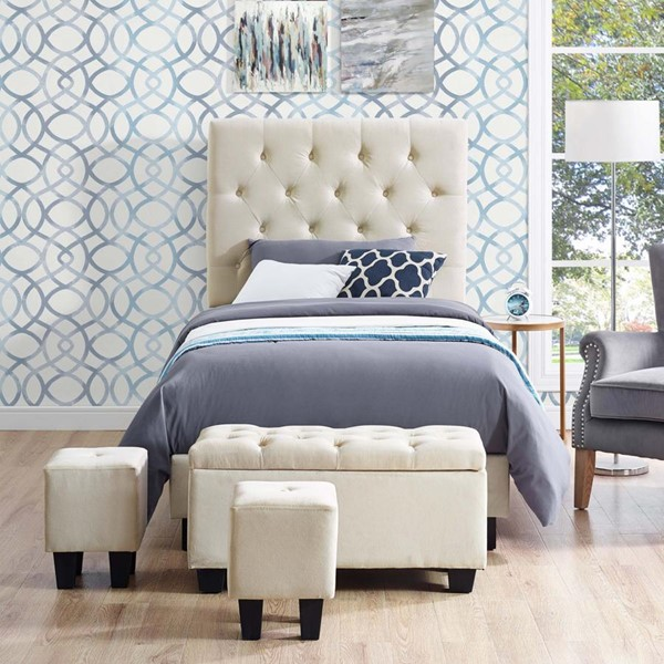 Picket House Faye Buckwheat Twin Upholstered Bed with Ottoman Set PKT-UFH051TBG