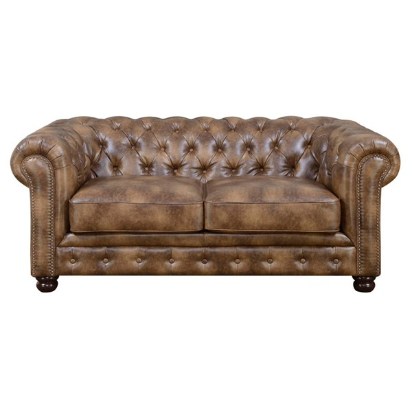 Picket House Fallon Brown Faux Leather Loveseat PKT-UFL855200