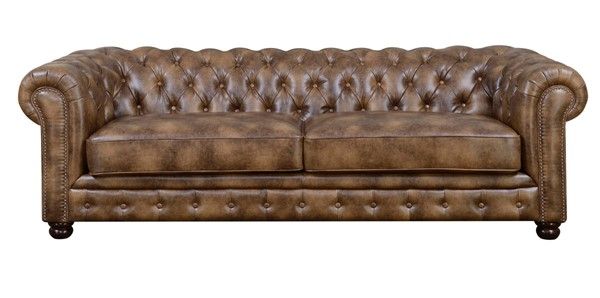 Picket House Fallon Brown Faux Leather Sofa PKT-UFL855300