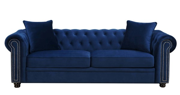 Picket House Gramercy Navy Blue Velvet Fabric Sofa PKT-UGW286300