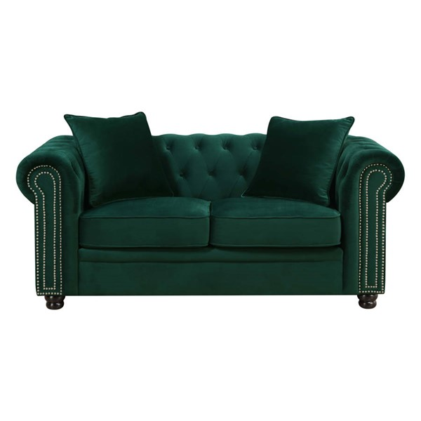 Picket House Gramercy Emerald Velvet Fabric Loveseat PKT-UGW294200