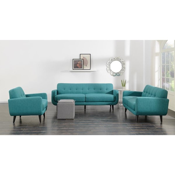 Picket House Hailey Teal Fabric 3pc Living Room Set PKT-UHD0873PC