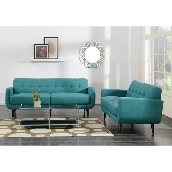 Picket House Hailey Teal Fabric Sofa and Loveseat Set PKT-UHD087SL2PC