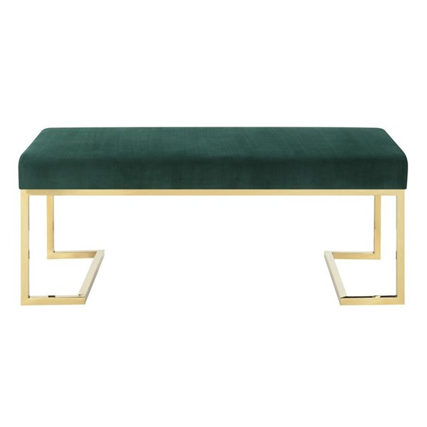 Picket House Clay Evergreen Fabric Upholstered Bench PKT-UHG1816BNE