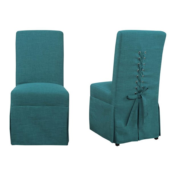 2 Picket House Hayden Aqua Teal Fabric Parsons Dining Chairs PKT-UHI087102