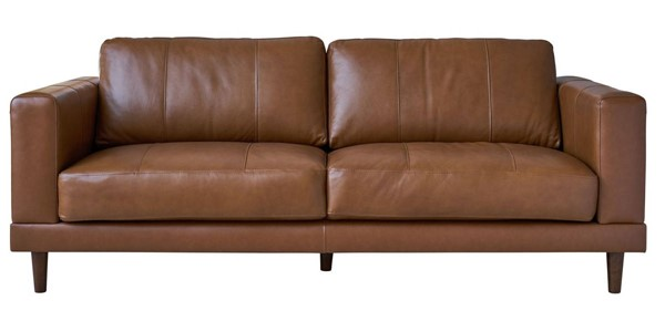 Picket House Hanson Tan Leather Sofa PKT-UHT3783300