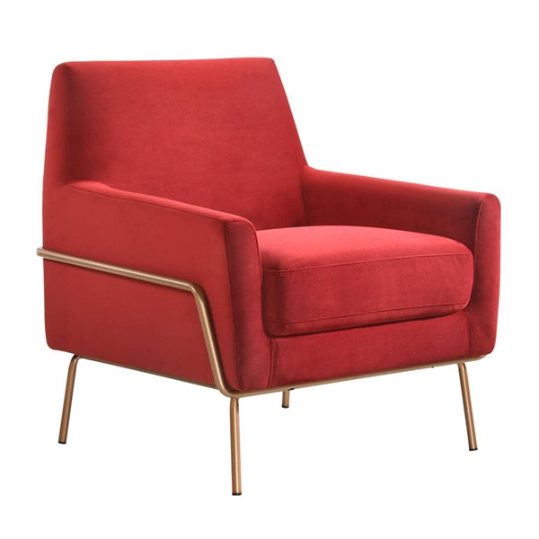 Picket House Kent Red Microfiber Fabric Modern Accent Arm Chair PKT-ULP3201100E