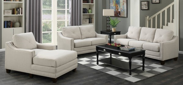 Picket House Mauldin Taupe Fabric 3pc Living Room Set with Chair Chaise PKT-UMO086-LR-S2