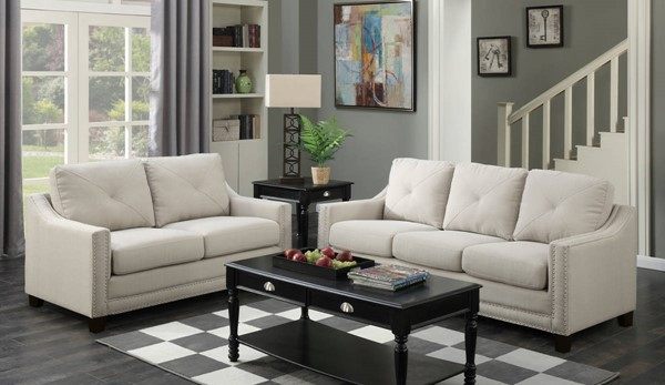 Picket House Mauldin Taupe Fabric 2pc Sofa and Loveseat Set PKT-UMO086SL2PC