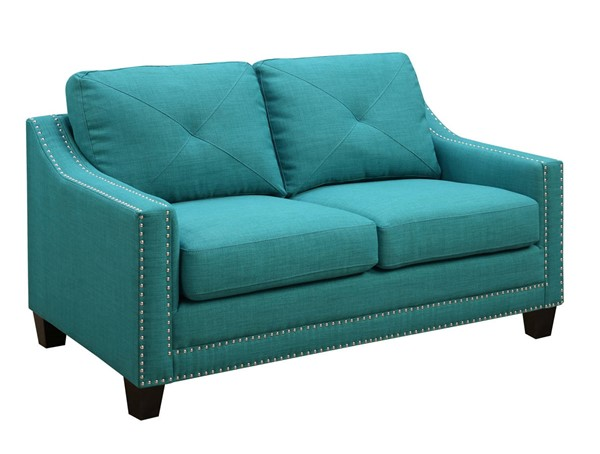Picket House Mauldin Teal Fabric Loveseat PKT-UMO087201