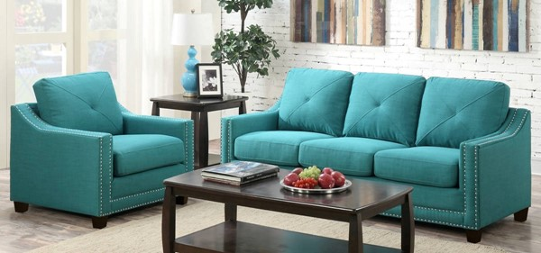 Picket House Mauldin Teal Fabric 2pc Sofa and Chair Set PKT-UMO087SC2PC