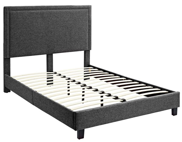 Picket House Emery Charcoal Upholstered Queen Platform Bed PKT-UMY090QB