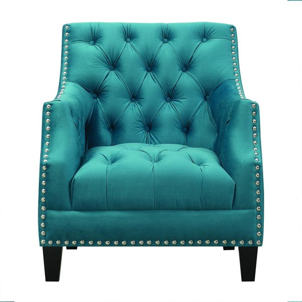 Picket House Perry Teal Fabric Button Tufted Accent Chair PKT-UNW816100G