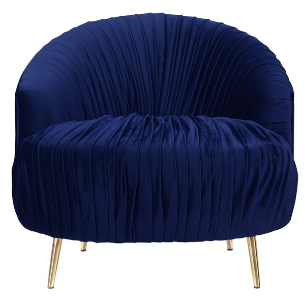 Picket House Penelope Navy Blue Fabric Ruched Accent Chair PKT-UPC286101GC