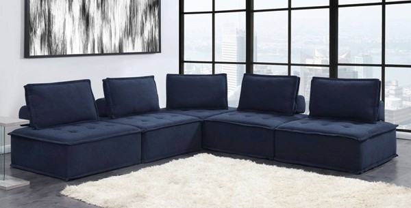 Picket House Cube Navy Fabric Modular Seating 5pc Sectional PKT-UPX16715PC