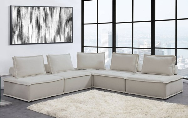 Picket House Cube Natural Linen Modular Seating 5pc Sectional PKT-UPX5255PC