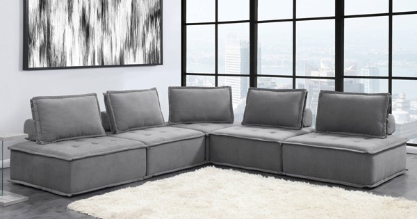 Picket House Cube Fabric Modular Seating 5pc Sectionals PKT-UPX-5PC-SEC-VAR