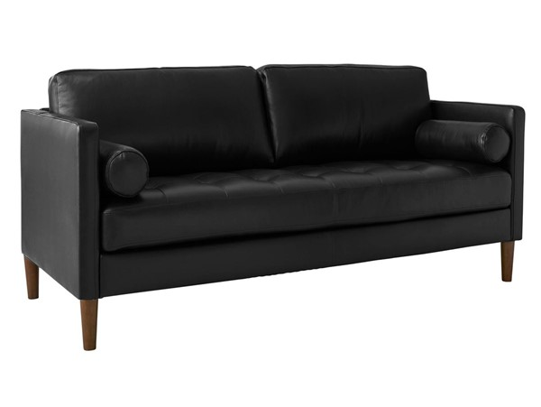 Picket House Sire Black Leather Tufted Seat Loveseat PKT-USK3780200