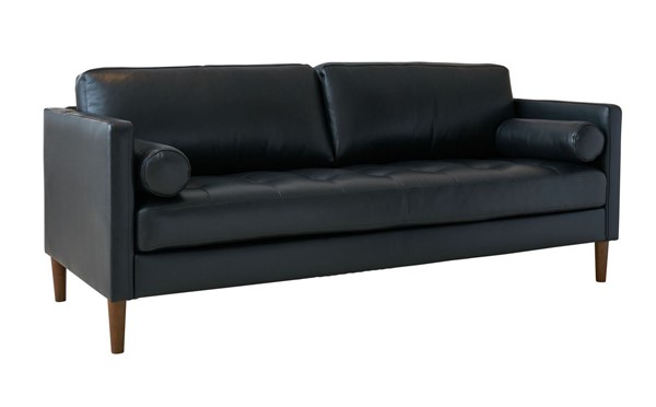 Picket House Sire Black Leather Tufted Seat Sofa PKT-USK3780301