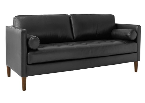 Picket House Sire Charcoal Leather Tufted Seat Loveseat PKT-USK3782200