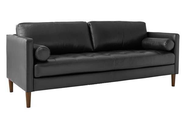 Picket House Sire Charcoal Leather Tufted Seat Sofa PKT-USK3782301
