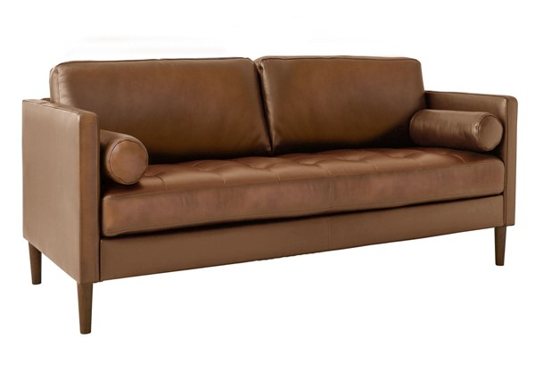 Picket House Sire Tan Leather Tufted Seat Loveseat PKT-USK3783200