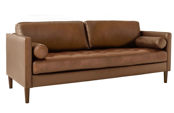 Picket House Sire Tan Leather Tufted Seat Sofa PKT-USK3783301