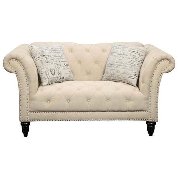 Picket House Twine Natural Fabric Loveseat with French Script Pillows PKT-UTW082200