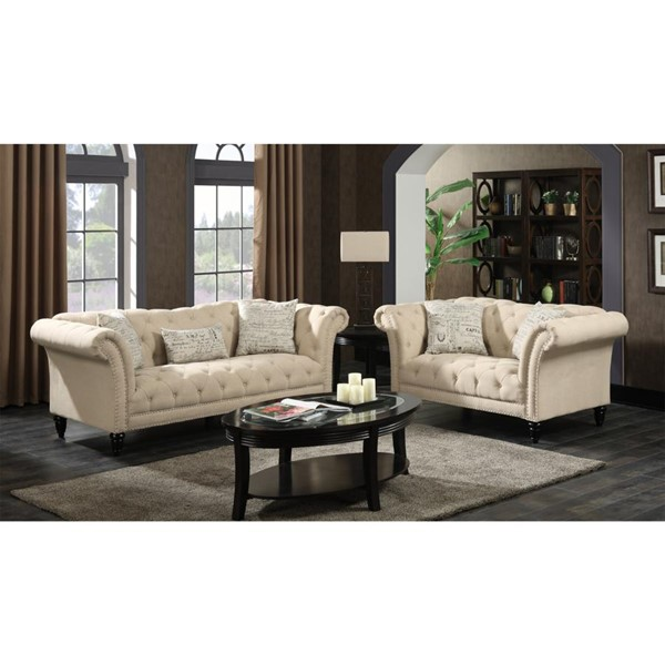 Picket House Twine Natural Fabric Sofa and Loveseat Set PKT-UTW082SL2PC