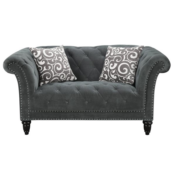 Picket House Twine Slate Gray Fabric Loveseat with French Script Pillows PKT-UTW212200