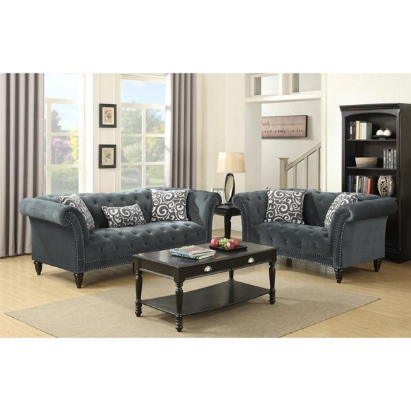 Picket House Twine Slate Gray Fabric Sofa and Loveseat Set PKT-UTW212SL2PC